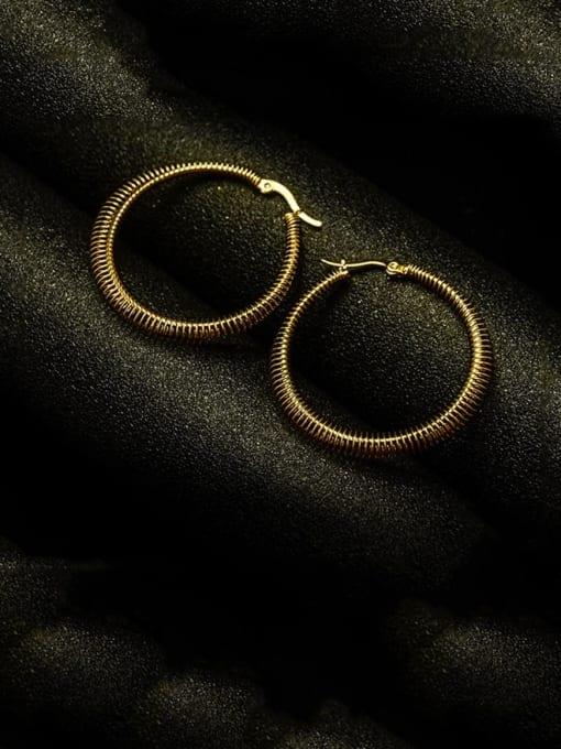 MAKA Titanium Steel Round Vintage Hoop Earring 3