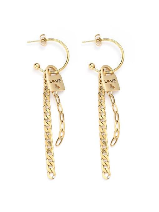 YAYACH Stainless steel love chain bar European and American fashion titanium steel earrings