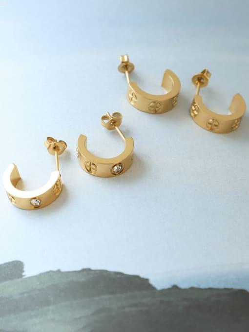 MAKA Titanium Steel Rhinestone Geometric Minimalist Stud Earring 1
