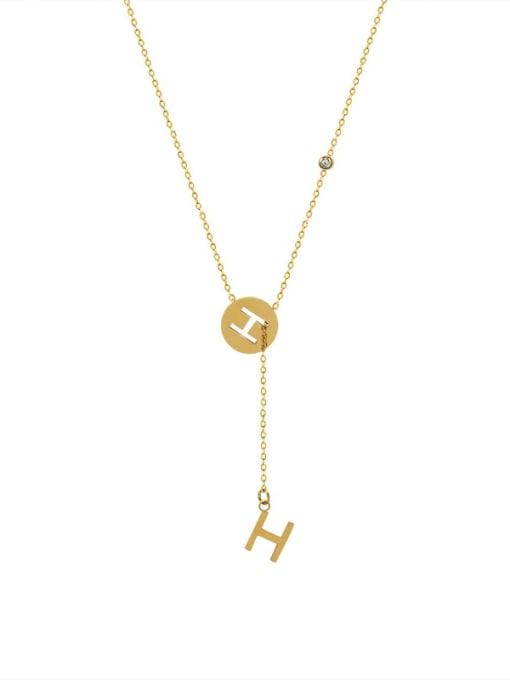 H letter gold necklace Titanium Steel Tassel Minimalist Lariat Necklace