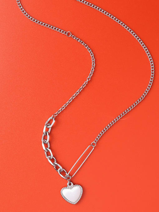 Steel necklace 45+5cm Titanium Steel Heart Vintage Necklace