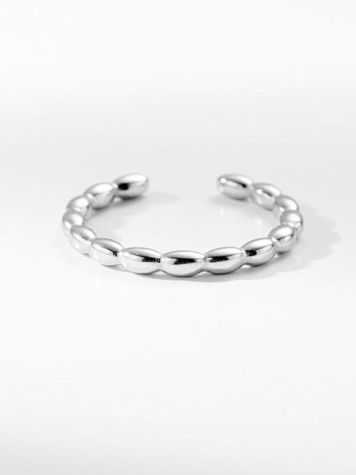 Silver Doudou round simple titanium steel ring