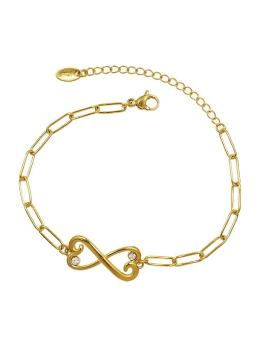 MAKA Titanium Steel Cubic Zirconia Bowknot Minimalist Link Bracelet 0