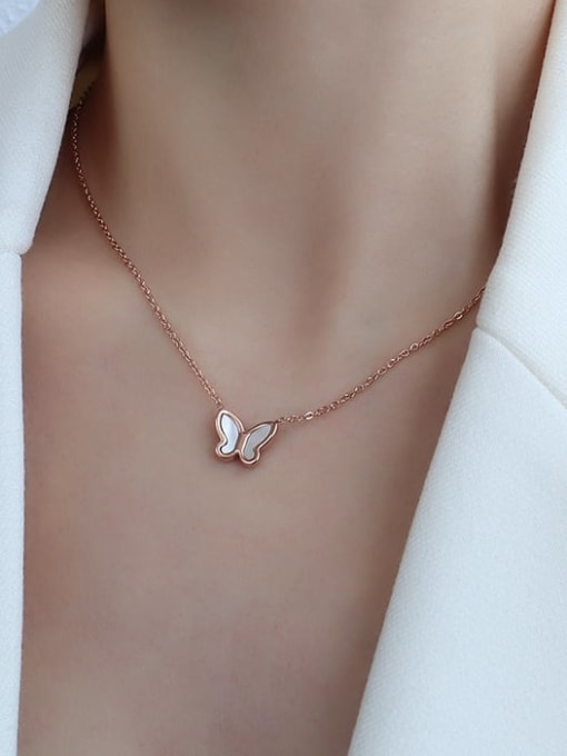 P519 rose gold necklace 40+5cm Titanium 316L Stainless Steel Shell Minimalist Butterfly  Earring and Necklace Set with e-coated waterproof