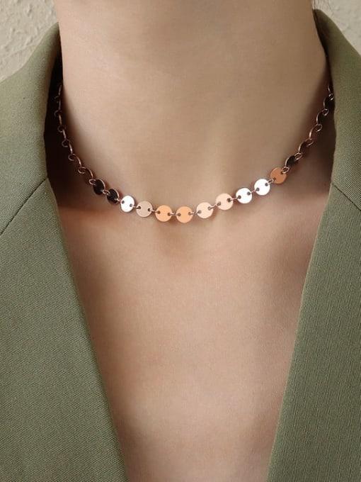Rose Gold thick circle collar 35+8cm Titanium Steel Smooth Geometric Vintage Necklace
