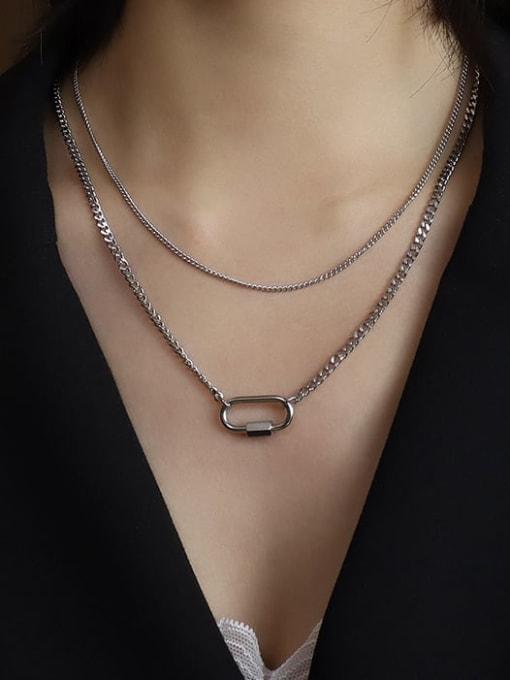 Steel double necklaces Titanium Steel Geometric Pin Vintage Multi Strand Necklace
