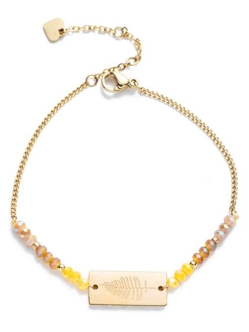 YAYACH Stainless steel Bead Geometric Bohemia Link Bracelet 2