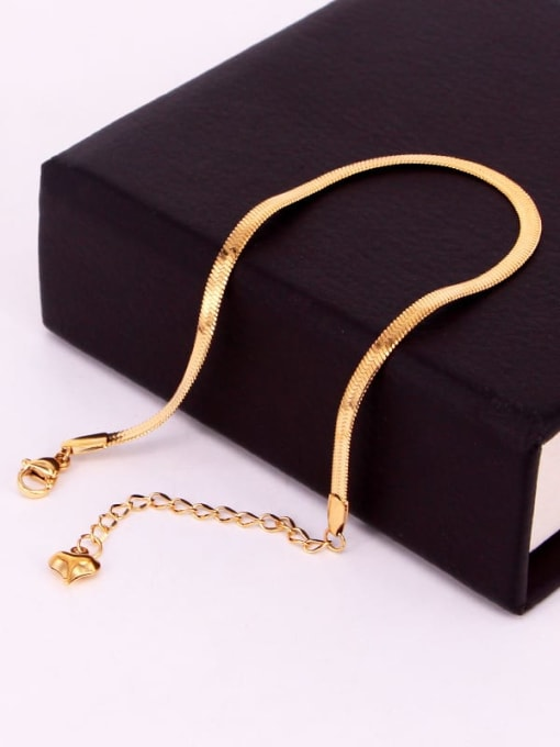 K.Love Titanium Steel Simple flat Snake bone chain Anklet 1