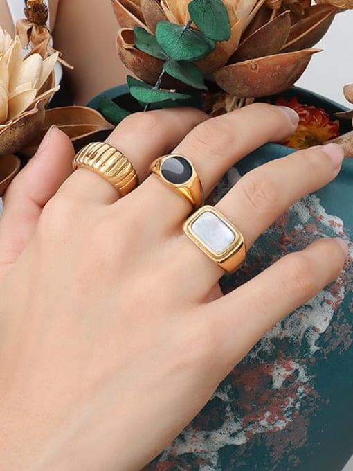 MAKA Titanium Steel Enamel Geometric Vintage Band Ring 1