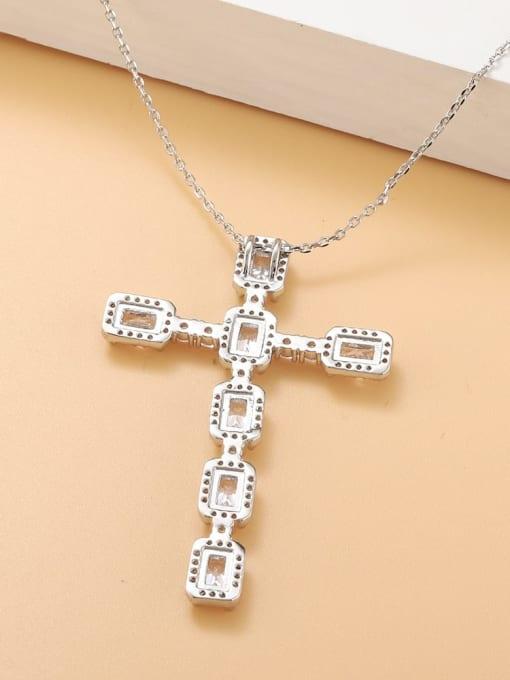 platinum Brass Cubic Zirconia Cross Minimalist Regligious Necklace