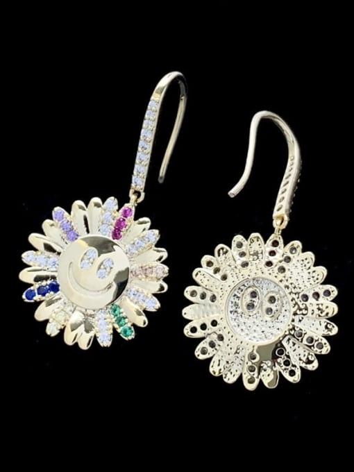 SUUTO Brass Cubic Zirconia Sun Flower Luxury Hook Earring 1