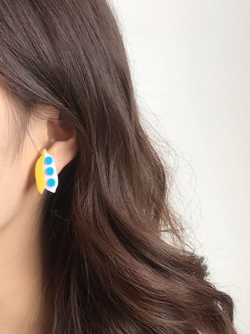 Five Color Alloy Acrylic Leaf Cute Stud Earring 3