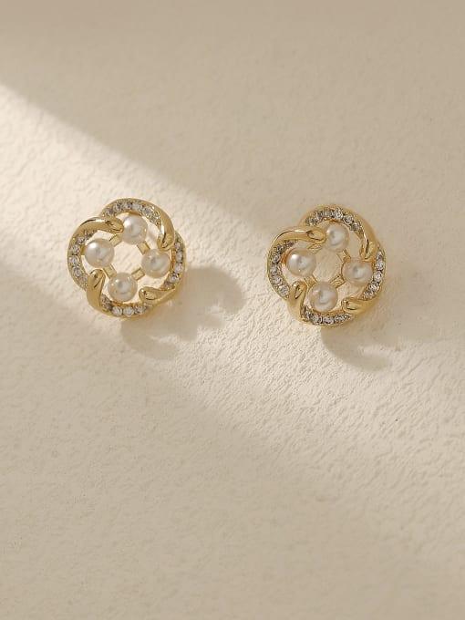 HYACINTH Brass Imitation Pearl Geometric Vintage Stud Trend Korean Fashion Earring