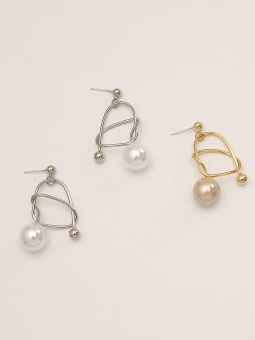HYACINTH Brass Imitation Pearl Geometric Minimalist Drop Earring 0