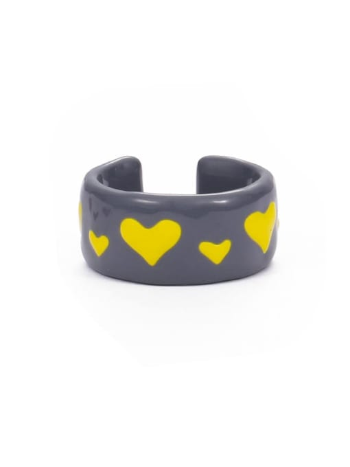Section 5 (No. 6 and No. 7) Zinc Alloy Enamel Heart Minimalist Band Ring