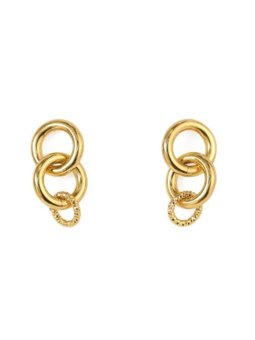 golden Brass Hollow Geometric Minimalist Drop Earring
