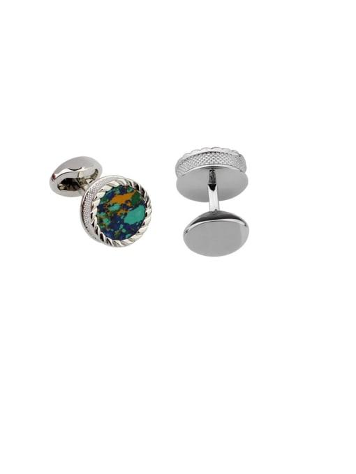 white steel Brass Glass Stone Round Vintage Cuff Link