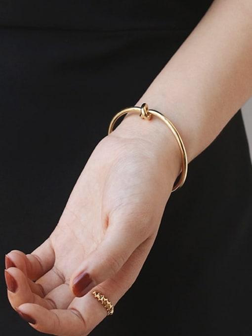 Five Color Brass Geometric knot Minimalist Cuff Bangle 1