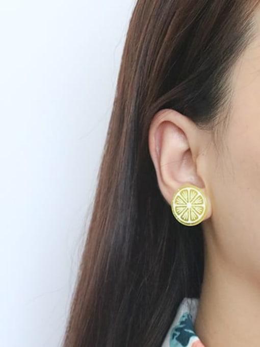 Five Color Alloy Resin Enamel Heart Cute Stud Earring 2