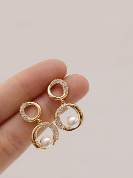 HYACINTH Brass Cubic Zirconia Geometric Vintage Drop Earring 2
