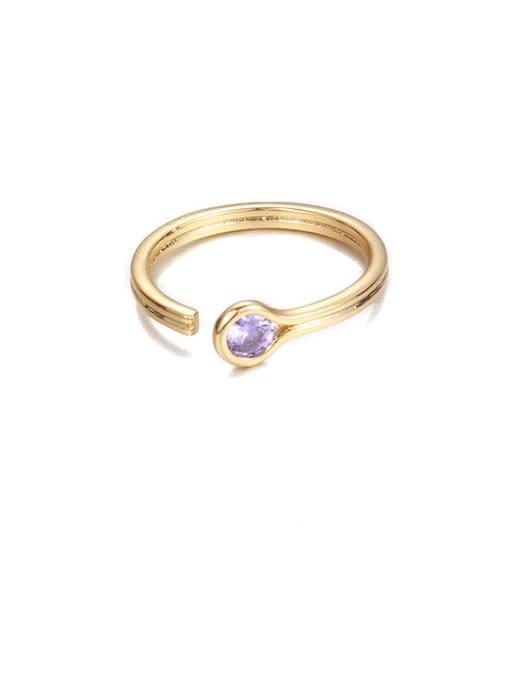 Zircon from lilac Brass Rhinestone Rainbow Minimalist Band Ring