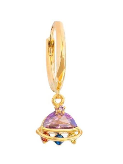 18K Gold UFO Brass Cubic Zirconia Irregular Minimalist Drop Earring