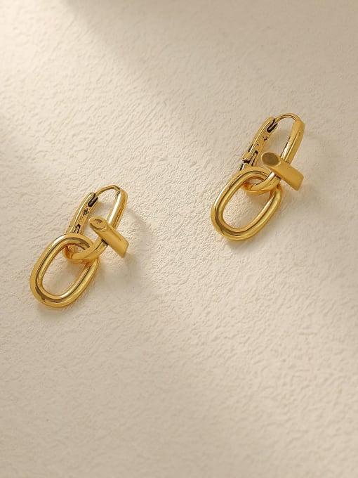 Ancient gold Brass Hollow Geometric Vintage Drop Trend Korean Fashion Earring