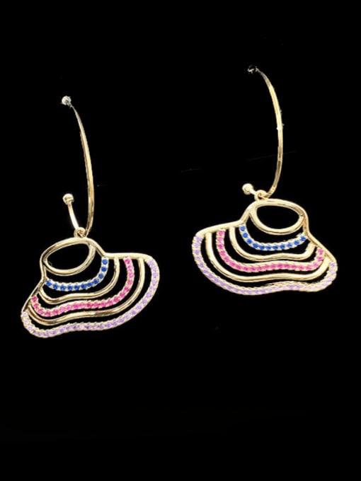 SUUTO Brass Cubic Zirconia Multi Color Geometric Minimalist Hook Earring 2