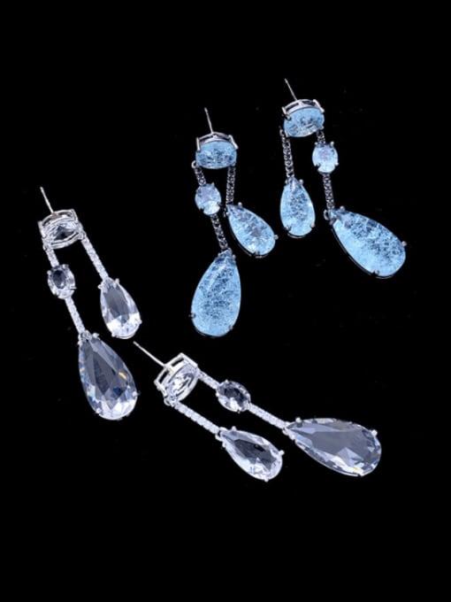 SUUTO Brass Cubic Zirconia Water Drop Vintage Drop Earring