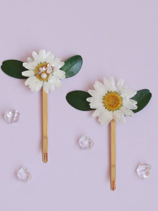 Five Color Alloy Imitation Pearl Minimalist Flower  Hair Pin