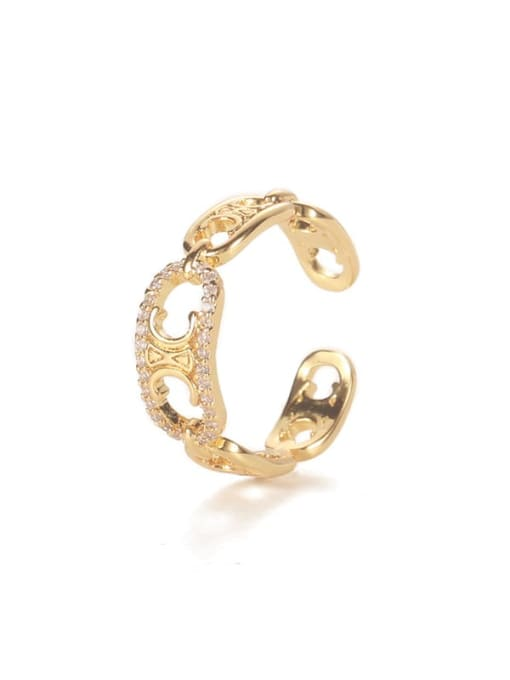 gold Brass Cubic Zirconia Geometric Vintage Band Ring