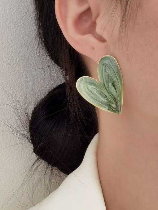 HYACINTH Brass Enamel Heart Minimalist Stud Earring 1