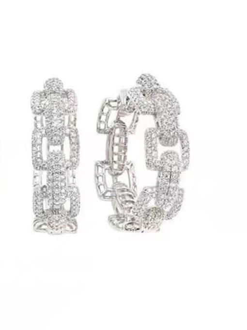 platinum Brass Cubic Zirconia Geometric Statement Huggie Earring