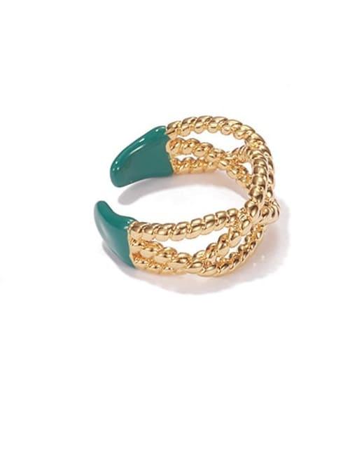 ACCA Brass Enamel Cross Vintage Band Ring 0