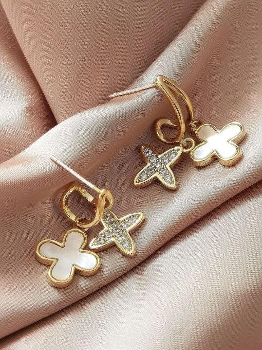 HYACINTH Brass Shell Cross Minimalist Huggie Earring