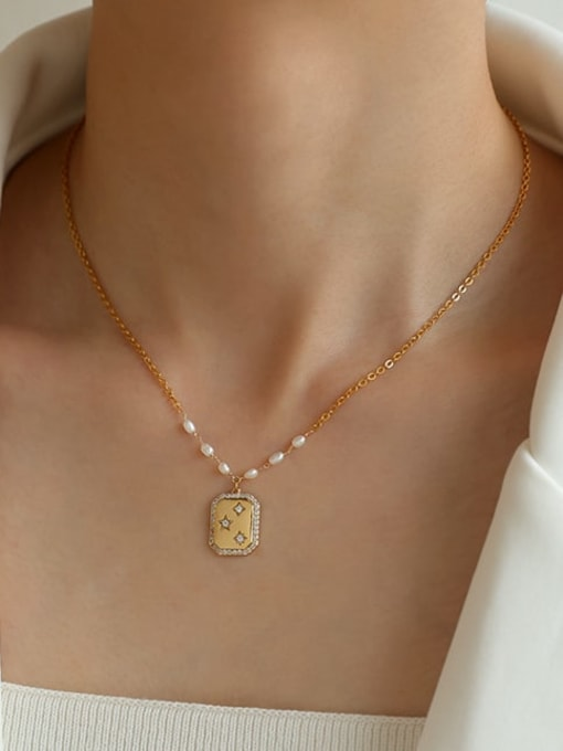 Five Color Brass Imitation Pearl Star Vintage Necklace 1
