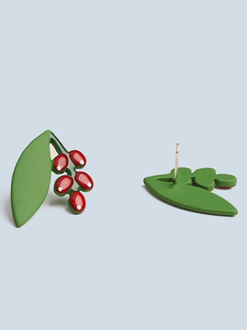 Five Color Alloy Enamel Friut Cute Stud Earring 3