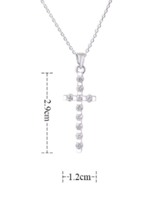 YILLIN Brass Cubic Zirconia Cross Dainty Regligious Necklace 2