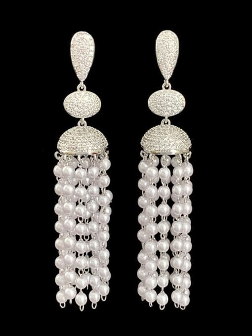 SUUTO Brass Imitation Pearl Geometric Ethnic Drop Earring 1