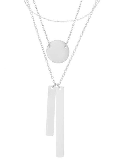 Steel color Stainless steel Geometric Minimalist Multi Strand Necklace