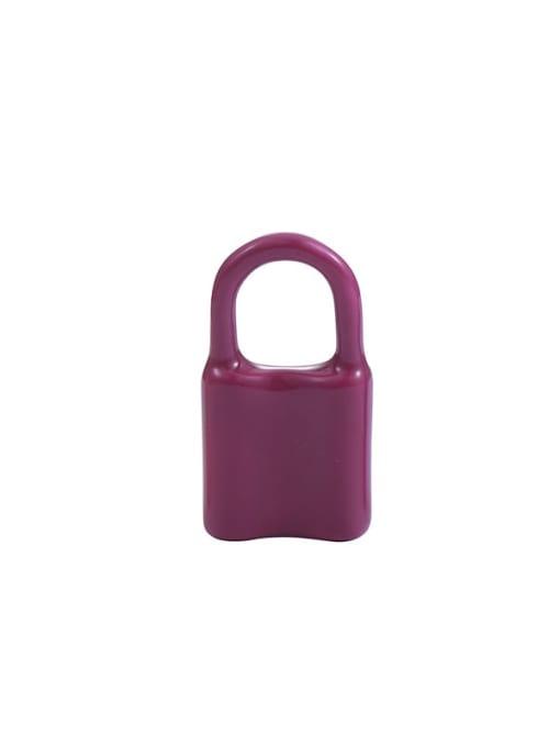 Purple Earrings single sale Brass Multi Color Enamel Locket Minimalist Huggie Earring