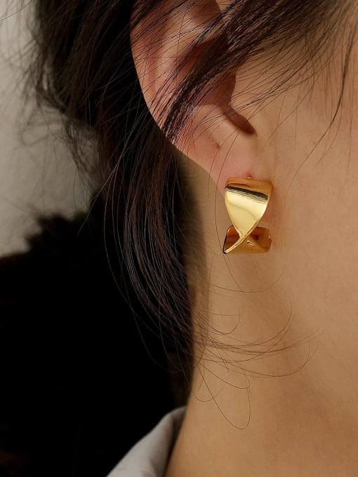 HYACINTH Brass Smooth Irregular Hip Hop Stud Earring 1
