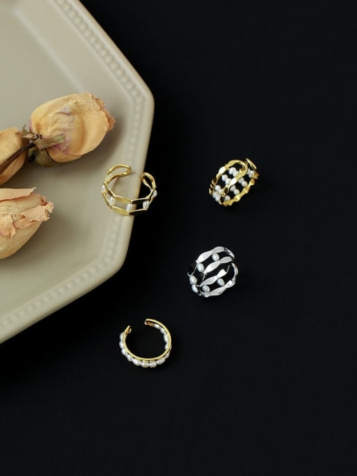Five Color Brass Imitation Pearl Geometric Vintage Stackable Ring 4