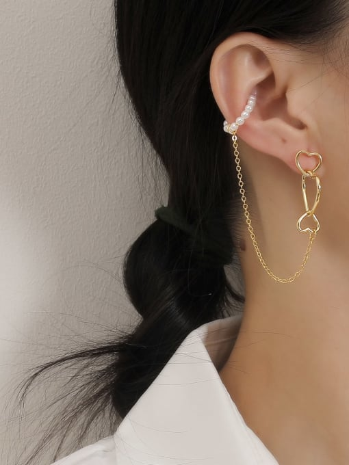 HYACINTH Brass Imitation Pearl Heart Minimalist Single Earring 2