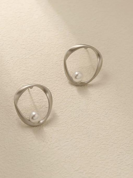 Dumb white K Brass Imitation Pearl Geometric Minimalist Stud Trend Korean Fashion Earring