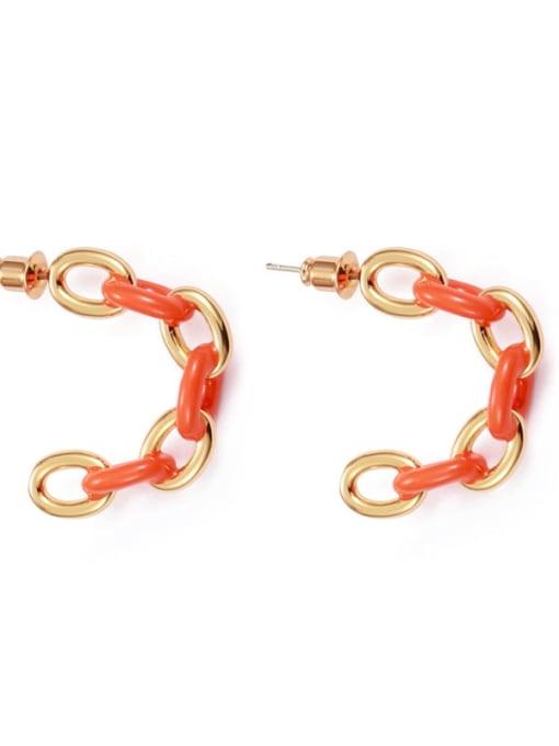 Orange Brass Enamel Geometric Hip Hop Stud Earring