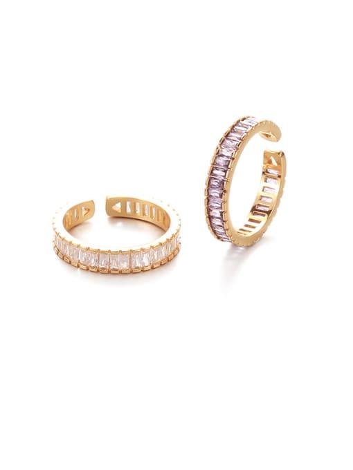 Transparent zircon Brass Cubic Zirconia Geometric Vintage Band Ring