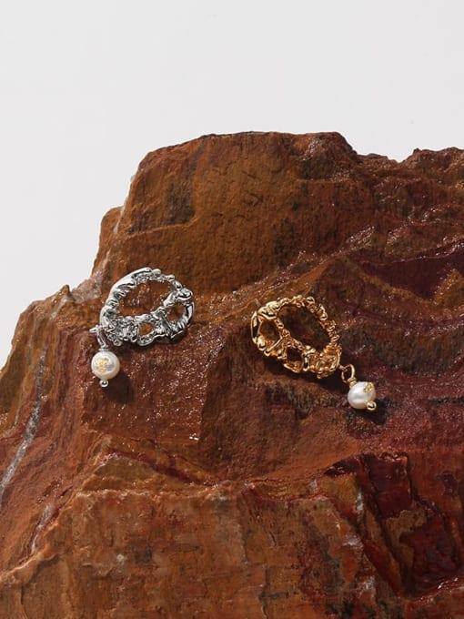 TINGS Brass Imitation Pearl Geometric Vintage Drop Earring 0