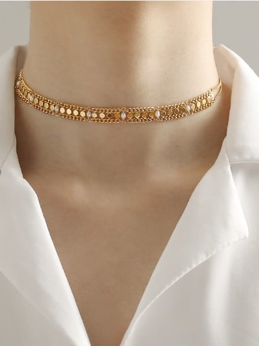 ACCA Brass Hollow Geometric chain Vintage Choker Necklace 1