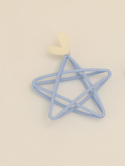 Blue ear needle Copper Enamel Star Minimalist Stud Earring